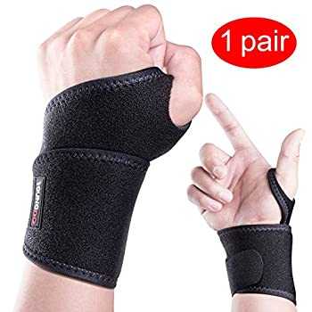 Youngdo Wrist Support Wrist Brace Adjustable For Men and Women, Left and Right Hand,Fits for Basketball Tennis and Other Sports, One Size 1 Pair Black
