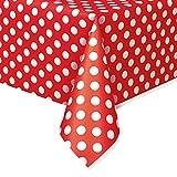 "Red Polka Dot Plastic Tablecloth, 108"" x 54"""