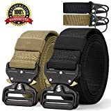 RONGQI 2Pack Tactical Belt,Military Style Quick Release Belt,1.5' Nylon Riggers Belts for Men,Heavy-Duty Quick-Release Metal Buckle