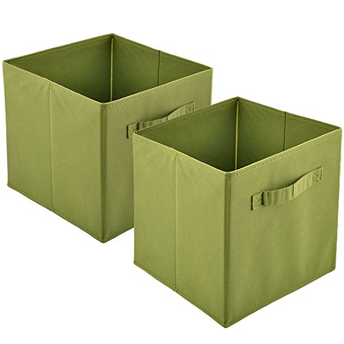 Heselian Practical Foldable Collapsible Fabric Cube Storage Containers  Storage Cube , Rectangle Cubeicals, 2-Pack Green