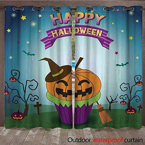 RenteriaDecor Outdoor Balcony Privacy Curtain Halloween pimpkin Cupcakes W96 x L108]()