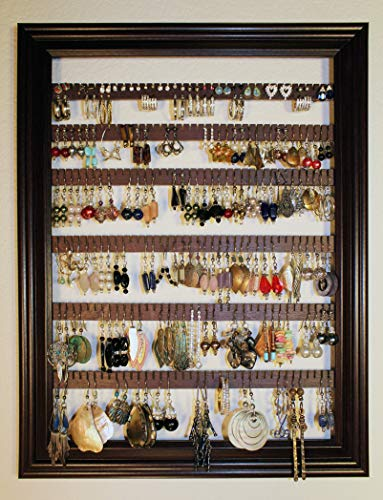 Earring Holder Organizer Storage Jewelry Rack - Wall Mounted Picture Frame Hanging Jewelry Display - Available in 4 Colors - Mahogany (dark reddish brown), Large