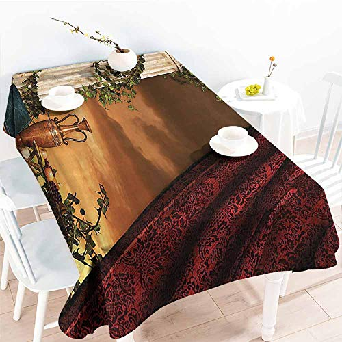 (Homrkey Polyester Tablecloth Gothic Greek Style Scene Climber Pillow Fruits Vine and Red Curtain Ancient Figure SunMulticolor Washable Tablecloth W60 xL84)