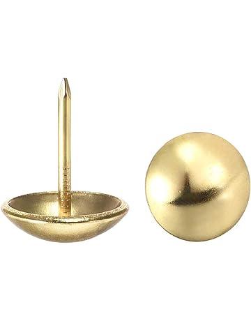 tono dorado 7//16 pulgadas, di/ámetro de la cabeza Sourcingmap dise/ño de pulgares redondos antiguos Chinchetas para tapicer/ía