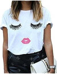 fc2b39f9a9 Women Summer Funny Print Short Sleeve Top Tee Graphic Cute T-shirt