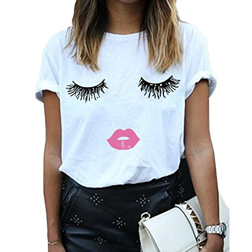 BLACKMYTH Women Summer Funny Print Short Sleeve Top Tee Graphic Cute T-shirt White Large