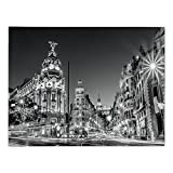 iPrint Rectangular Satin Tablecloth,Black and White Decorations,Madrid City Night Spain Main Street Ancient Architecture Decorative,Grey,Dining Room Kitchen Table Cloth Cover