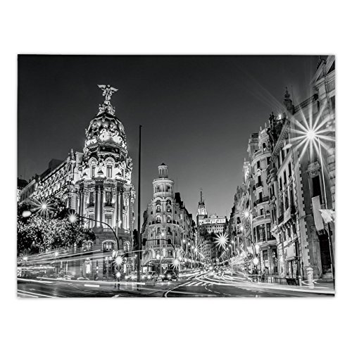 iPrint Rectangular Satin Tablecloth,Black and White Decorations,Madrid City Night Spain Main Street Ancient Architecture Decorative,Grey,Dining Room Kitchen Table Cloth Cover by iPrint