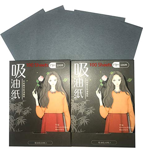 Natural Bamboo Charcoal Oil Blotting Sheets for Oily Face, Mild Oil Absorbing Tissue Paper to Purify Pores while Removing Grease Instantly, Best Oil Blotting Tissues for Skin Care 100 Each (Pack of 2)