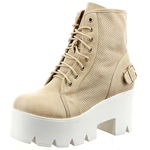 Sopily - Zapatillas de Moda Botines Low boots A medio muslo mujer Perforado Hebilla Talón Plataforma 8 CM - Beige