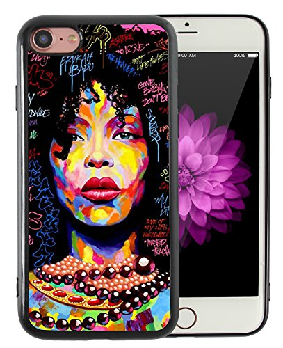 iPhone 7 iPhone 8 Case (NOT for Plus) African American Afro Girls Women Black Hair Colorful Watercolor Artistic Alphabet Print Design Art Slim Fit in Tough Smooth TPU Protective - KITATA