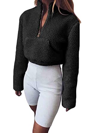 KLJR Women Long Sleeve Cachemir Pullover Turtle Neck Cropped Cremallera Sudaderas at Amazon Womens Clothing store: