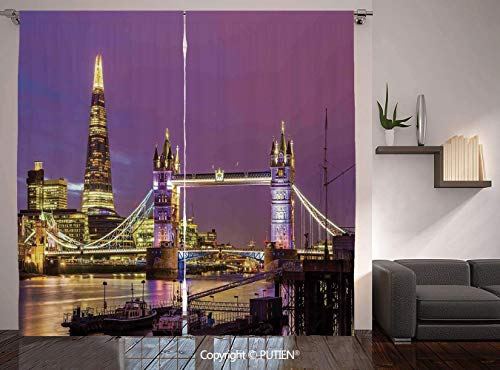Thermal Insulated Blackout Window Curtain [ London,Tower Bridge in London at Night Historical Cultur Monument Europe British Urban Decorative,Purple Yellow ] for Living Room Bedroom Dorm Room Classroo -