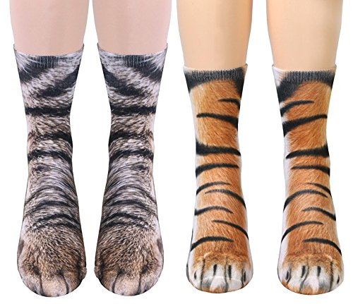 2 Pairs 3D Socks Unisex Adult Big Kids Animal Paw Crew Socks - Sublimated Print - Print Tiger Cat
