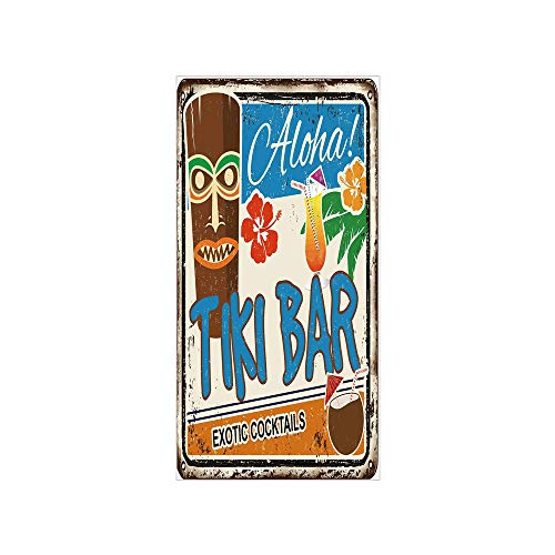 (3D Decorative Film Privacy Window Film No Glue,Tiki Bar Decor,Rusty Vintage Sign Aloha Exotic Cocktails Coconut Drink Antique Nostalgic,Multicolor,for Home&Office)
