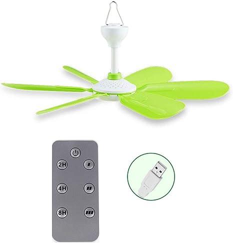 Ventilador de techo USB con mando a distancia de 5 W, ventilador de techo USB, para cama, camping, exterior, caravanas, tiendas de campaña, colgador, ...