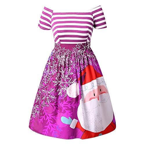 iYBUIA Women Santa Claus Off The Shoulder Striped