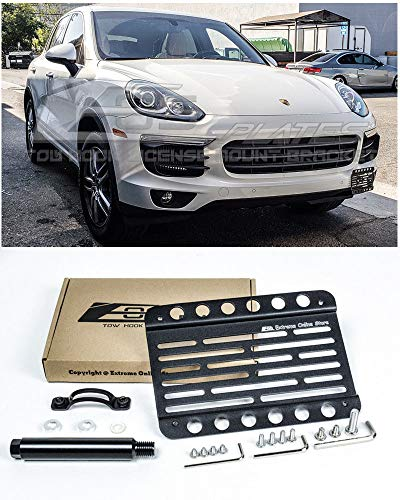 Extreme Online Store Replacement for 2015-2018 Porsche Cayenne 958.2 | EOS Plate Version 1 Front Bumper Tow Hook License Relocator Mount Bracket Tow-130 (Mid Size) (Porsche Cayenne Front Bumper)