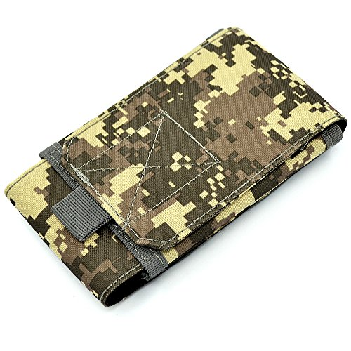 NYZ Army Camo Bag for Mobile Phone Hook Loop Belt Pouch Holster Cover Case Tactical Smartphone Pouch /Outdoor Sports Climbing Cycling Hiking Camping Travel Pouch Bag for Apple Iphone 6 Plus 5.5,samsung Galaxy Note 4,note 3,note 2,note Edge,s4,s5 Lg G Pro 2 ,Lg G3,motorola Moto X + Free 2 in 1 Stylus Pen (#F)
