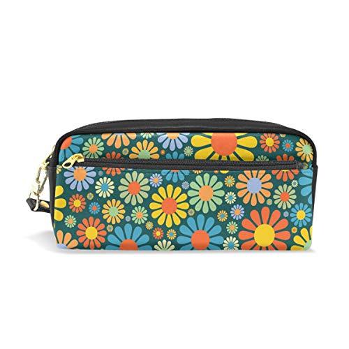 Flower Power Leather - Pen Pencil Case Pouch Case PU Leather Flower Power Party Makeup Cosmetic Travel School Bag