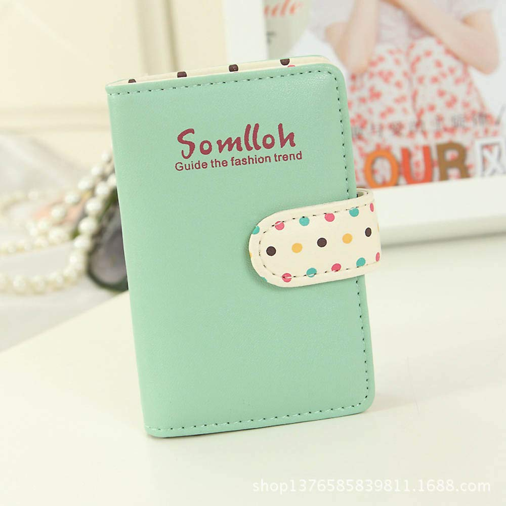GzxtLTX PU Leather Wallet Credit Card Holder ID Bussiness Card Case Polka Dot Printed for Women