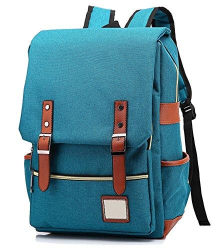 (Honeystore Unisex School Bookbag Weekend Travel Laptop Backpack Tourist Knapsack Style1 Peacock Blue)