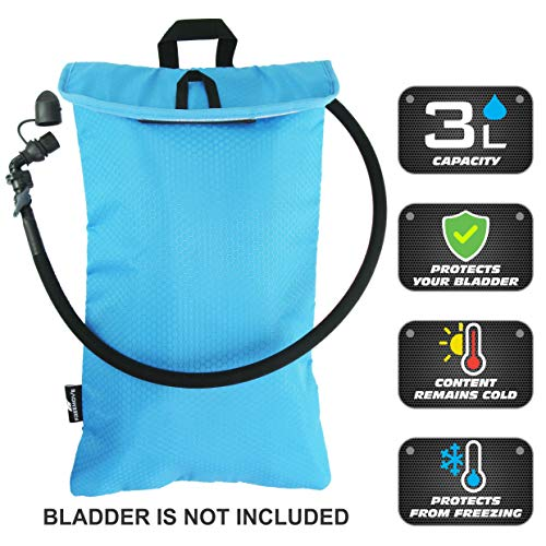 Hydration System Insulator (Cooler Bag Protective Sleeve for up to 3L Hydration Water Bladder. Excellent Insulator Keeps Water Cool Protects Your Bladder, Water Resistant Pouch Fits Almost All Backpacks. Bladder NOT Included!)
