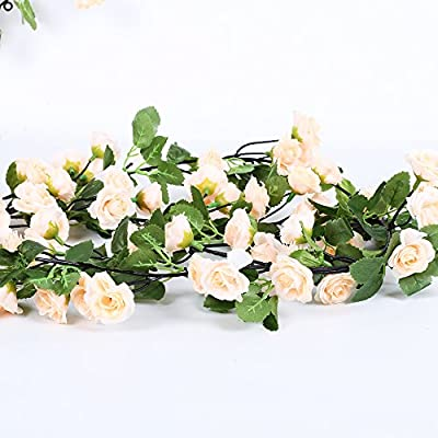 Li Hua Cat Rose Garland Artificial Rose Vine with Green Leaves 63 Inch Pack of 3 Flower Garland For Home Wedding Decoration