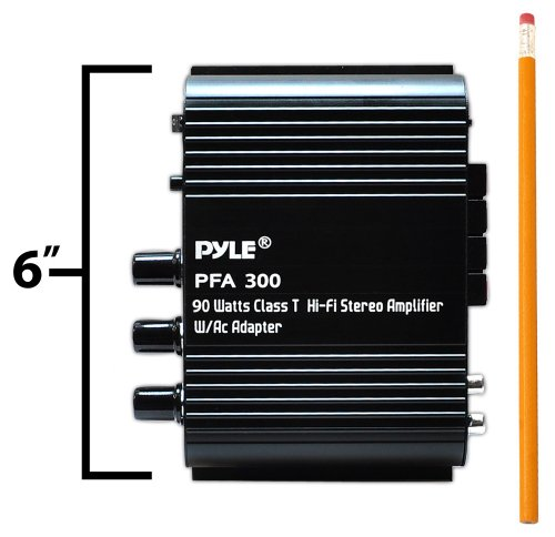 Power Home HiFi Stereo Amplifier - 90 Watt Portable Dual Channel Surround Sound Audio Receiver w/ 12V Adapter - For Subwoofer Speaker, MP3, iPad, iPhone, Car, Marine Boat, PA System - Pyle PFA300 by Pyle (Image #3)