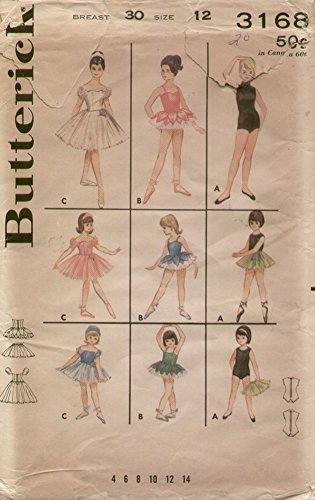 30s Dance Costumes (Butterick 3168 Vintage 1960s Girls Dance Costume Sewing Pattern Sz12)