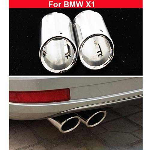 - 2x Silver Stainless Steel Exhaust Muffler Tail Pipe Tailpipe For BMW X1 2011 2012 2013 2014 2015 2016 2017 2018 2019