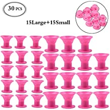 Hair Curlers Silicone Hair Care Rollers 30PCS No Clip Hair Style Rollers Soft Magic DIY Curling Professional Hairstyle Tools Hair Accessories No Heat No Damage to Hair