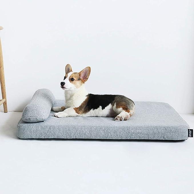 Cama perro Espuma con Memoria Grande, Indestructible Cama para colchón ortopédico, Gato Gris para Mascotas, con Funda Lavable, tamaño Opcional (Tamaño ...