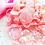 80 pcs Assorted Pearlized Flat Back Cabochon 6mm to 18mm Pink Heart Star *ship with FREE GIFT from GreatDeal68*