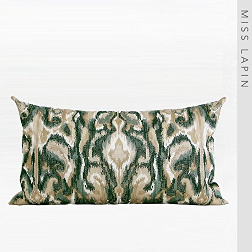 Vaevanhome Silk Imitation Silk by The Package Cushion Pillow Green European Classical Pattern Embroidered Waist Pillow ()