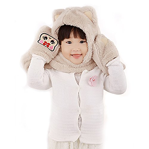 COFFLED Kids Hat, Gloves and Scarf 3 in 1 Cute Winter Acessory, Faux Cat Hoodie Hoods Hat Mitten Costume -