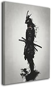 Martoo Art Armored Samurai Painted Framed Paintings Canvas Wall for Office Home Decor Pictures Modern Artwork for Living Room Decorations Ready to Hang 16x20 inch