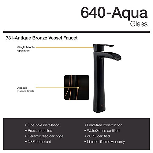 The MR Direct 640 Aqua Antique Bronze Bathroom 731 Vessel Faucet Ensemble (Bundle - 3 Items: Vessel Sink, Vessel Faucet and Pop-Up Drain) cheap