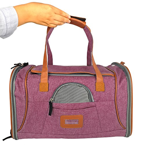 Mr-Peanuts-Airline-Approved-Soft-Sided-Pet-Carrier-Low-Profile-Luxury-Travel-Tote-with-Fleece-Bedding-Safety-Lock-Under-Seat-Compatability-Perfect-for-Cats-and-Small-Dogs-Raspberry-Red