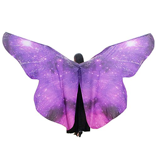 vermers Women Costume Egypt Belly Wings Dancing Costume Butterfly Wings Dance Accessories No Sticks(Purple)]()