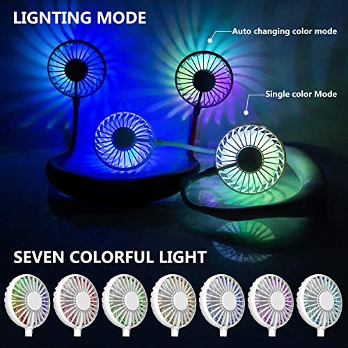 Hand Free Mini USB Personal Fan – Rechargeable Portable Headphone Design Wearable Neckband Fan,3 Level Air Flow,7 LED Lights,360 Degree Free Rotation Perfect for Sports, Office and Outdoor (white) 51eeQLcWrPL