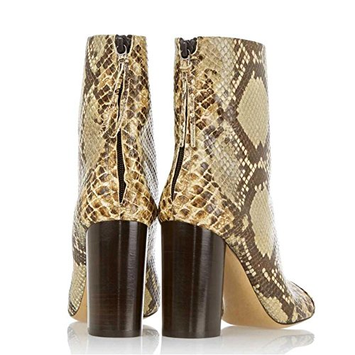 and autumn YC Winter amp; Women ankle Office Rough With 'S Comfortable Tip Evening Boots artificial Boots L Evening golden Leather wtIgSqS