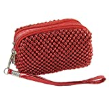 Allegra K Zipper Closure Red Mini Beaded Purse Bag for Lady, Bags Central