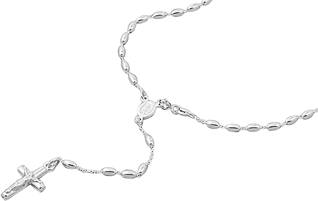 """Sterling Silver 925 ROSARY NECKLACE MADE IN ITALY 3MM-LENGTH-16/"""",18/"""",24/"""""""