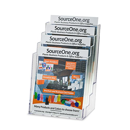 Source One Deluxe 4-Tier Large Brochure Holder and Magazine Organizer, Wall Mount or Counter Top Use Clear Acrylic (1 Pack, Deluxe)
