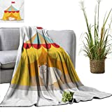 XavieraDoherty Picnic Blanket Circus,Furry Cat Kitten in a Circus Tent Smiling Fun Joy Famous Nostalgic Memory Artwork,Yellow Red Colorful | Home Couch Outdoor Travel Use 60'x63'