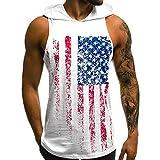 Tank Tops Mens Summer USA Flag Printed Slim Sleeveless Vest Hoodie Bodybuilding Stringer Gym Tank Top Blouse by Sunyastor White