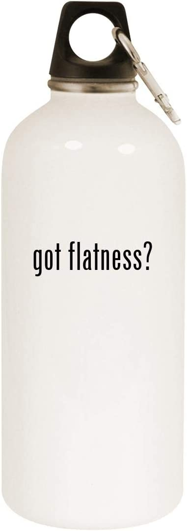 got flatness? - 20oz Stainless Steel White Water Bottle with Carabiner, White