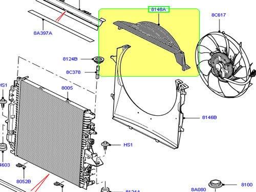 Genuine LAND ROVER RADIATOR SHROUD FAN UPPER COVER RANGE ROVER SPORT 05-13 LR4 LR016206