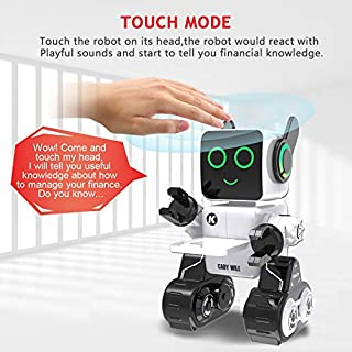 Robot Toy for Kids,Aukfa Programmable Dancing Singing Built-in Piggy Bank,Recording,Rechargeable and LED Eyes Intelligent Interactive Smart Toy RC Control Robot for Kids(White)